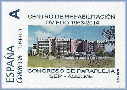 Sello personalizado del antiguo edificio de Rehabilitación de Oviedo
