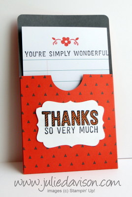 Gratitude for Days Pocket Thank You Cards with Simply Wonderful Sale-a-bration stamp set #stampinup #saleabration www.juliedavison.com