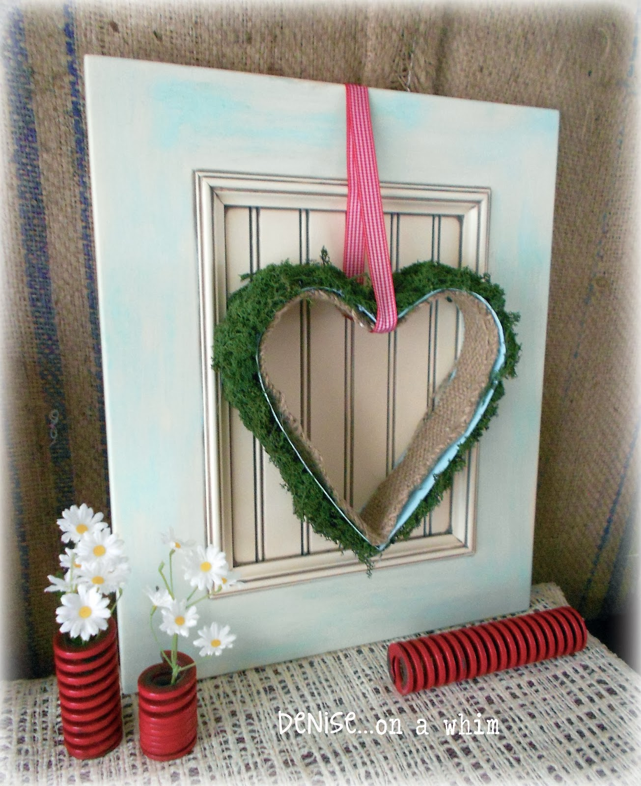 Moss-Covered Heart on a Cupboard Door via http://deniseonawhim.blogspot.com
