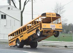 Dragster school bus pops a wheelie