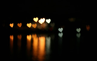 Effect Bokeh Hearts Dark Background The Reflection HD Love Wallpaper