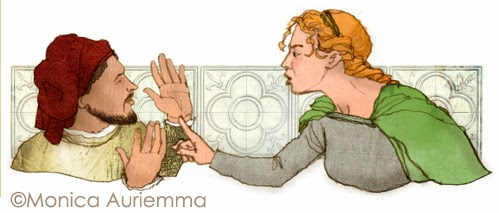 """Illustrazione.Cecco Angiolieri.Monica Auriemma.""""Leggo perchè..."""" Mondadori Education"""