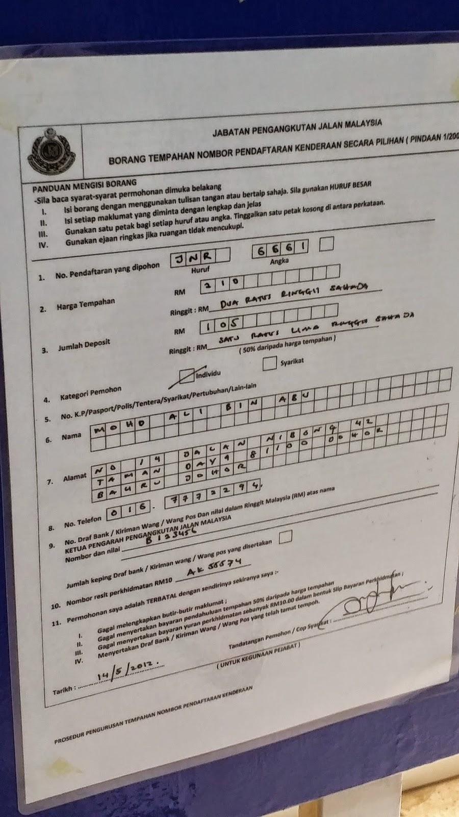 Jpj No Plate Tender Result Johor Tender Form M V10