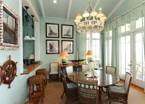 Decorating Monochromatic With Aqua Blue In A Coastal Seaside Cottage Comple