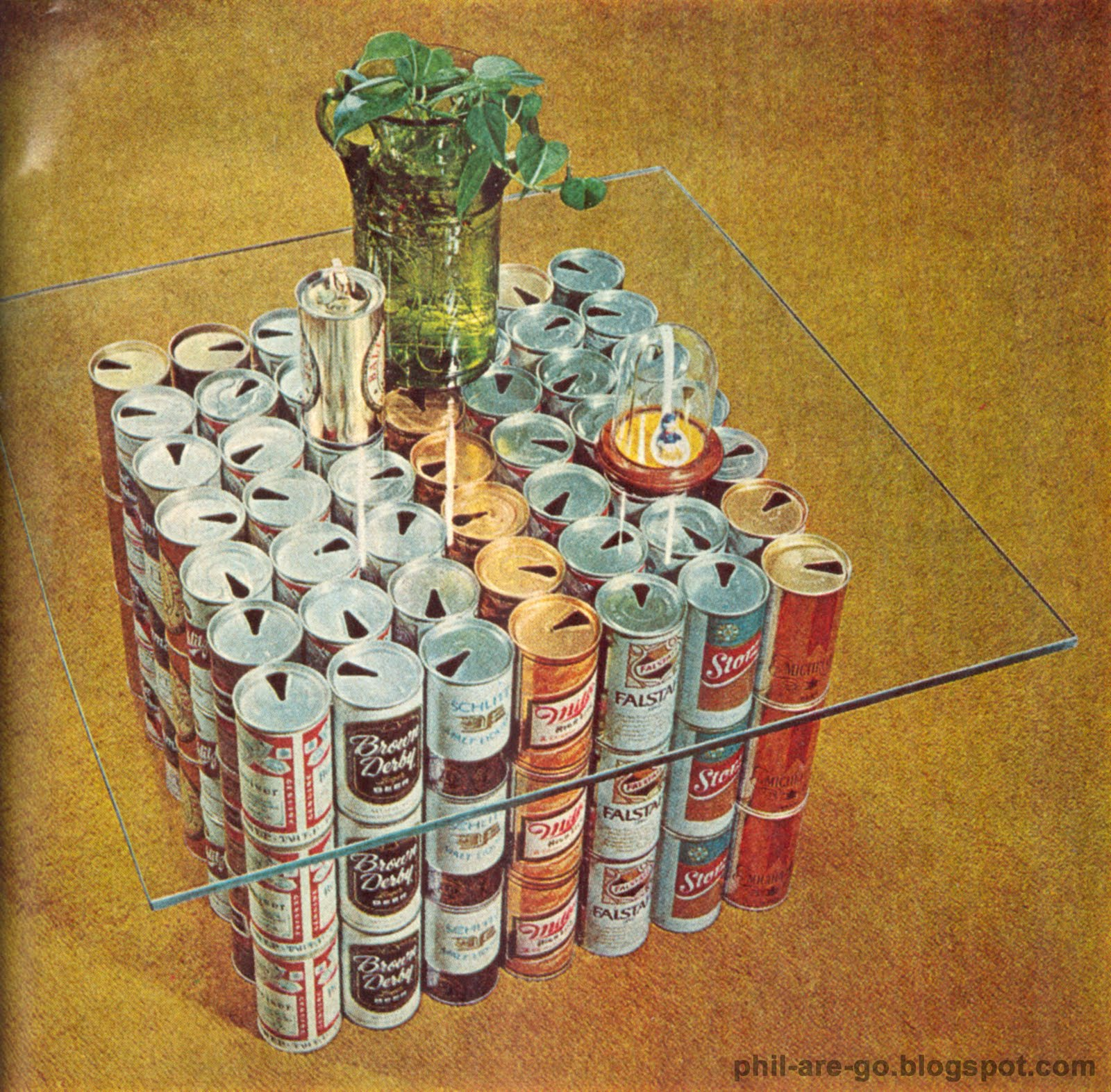 Decorating Ideas 1971 - Beer can Table. You can't spell class without  title=