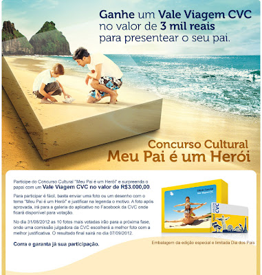 Concurso Cultural Meu pai é um Herói - CVC Viagens