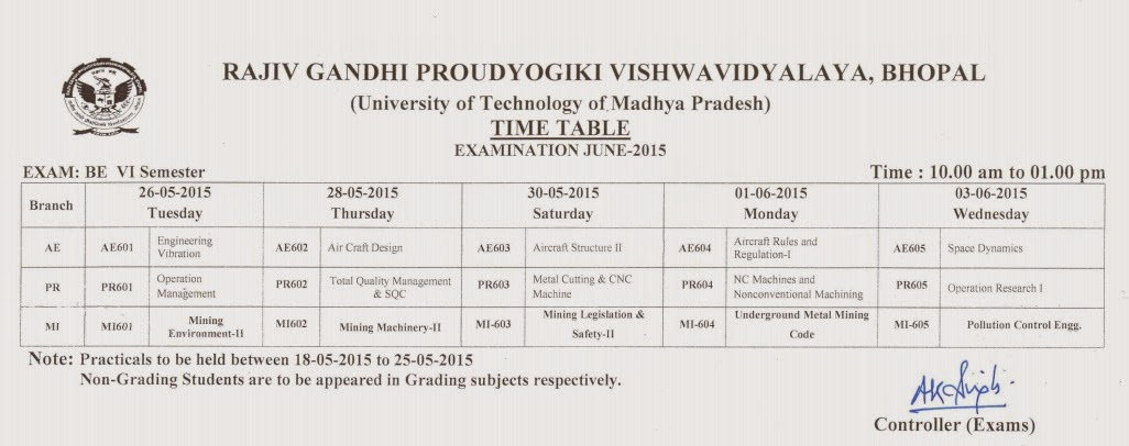 rajiv gandhi proudyogiki vishwavidyalaya rgpv b e 6th sem ForRgpv Time Table 6th Sem 2015