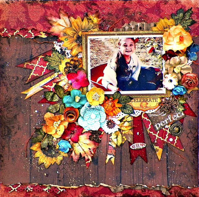 Celebrate Autumn Layout by Lisa Novogrodski using Scraps of Darkness November Kit  Amy's Amazing Autumn