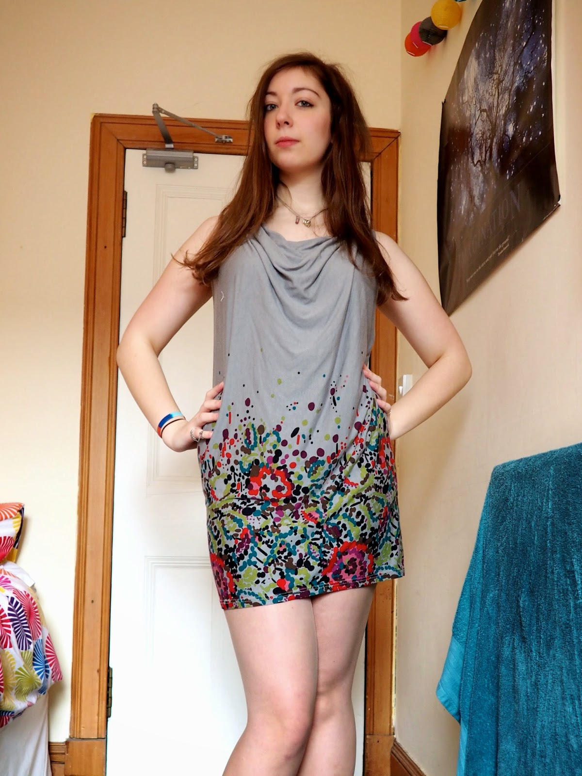 Paint Splatter outfit | short grey dress with cowl neckline, no sleeves and colourful splatter spots design