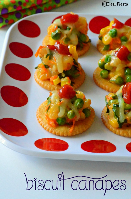 Desi fiesta biscuit canapes with vegetable topping for How to make a canape