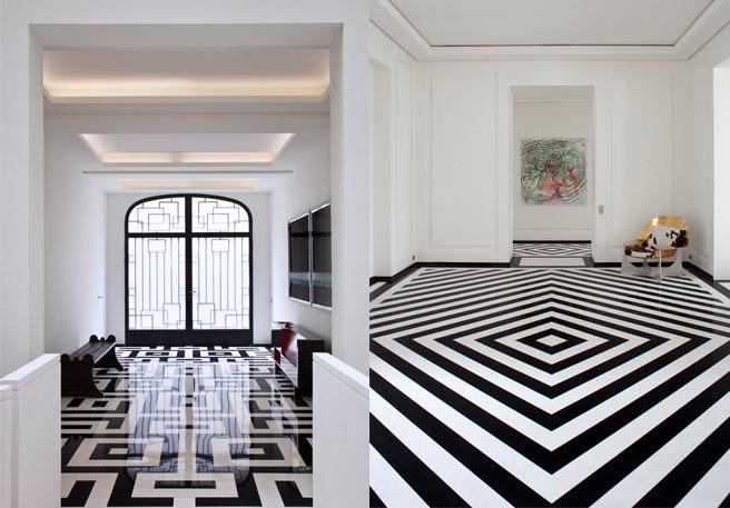 Small black floor tiles