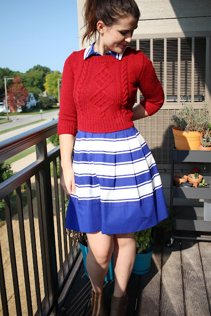 hand knit knitting diy handmade crafty red sweater pullover cabled fiisherman brunette girl woman