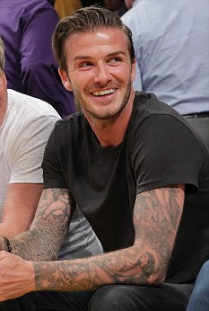 David Beckham with tatoos