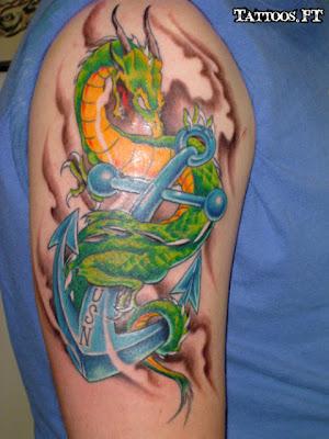 Tatuagem com Ancora e Dragão