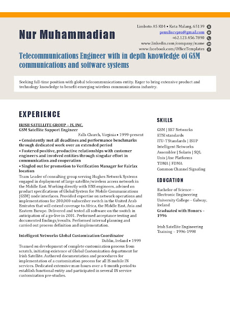 Contoh Resume/Curriculum Vitae Teknisi Telekomunikasi