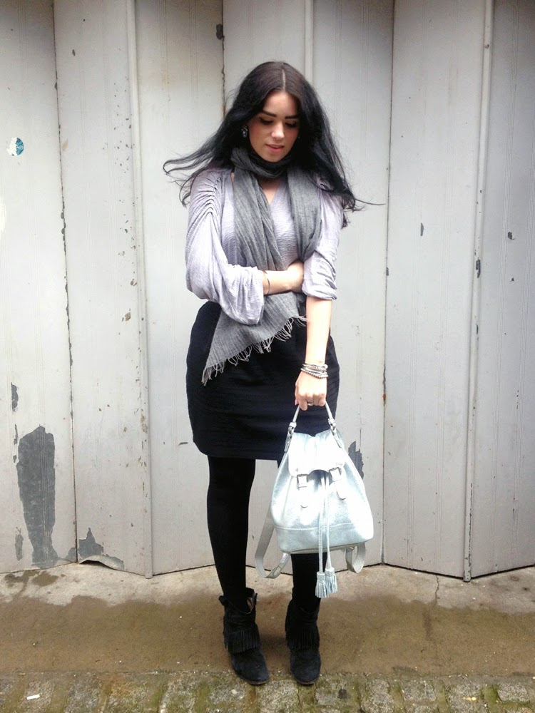 Silver leather Boden backpack on London fashion blogger Emma Louise Layla