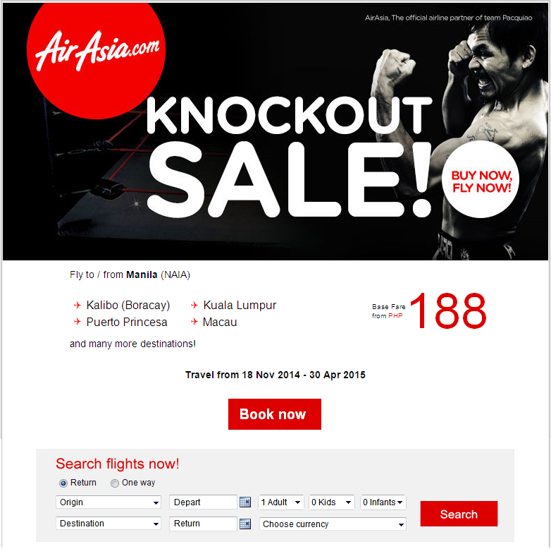 Air Asia: Knockout Sale from PHP188!