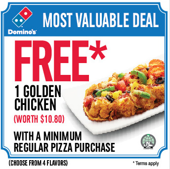 Free Golden Chicken with Regular pizza purchase