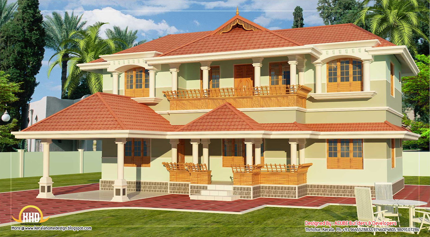 Kerala style 2 story home design 2346 sq ft home for Two storey house plans in kerala