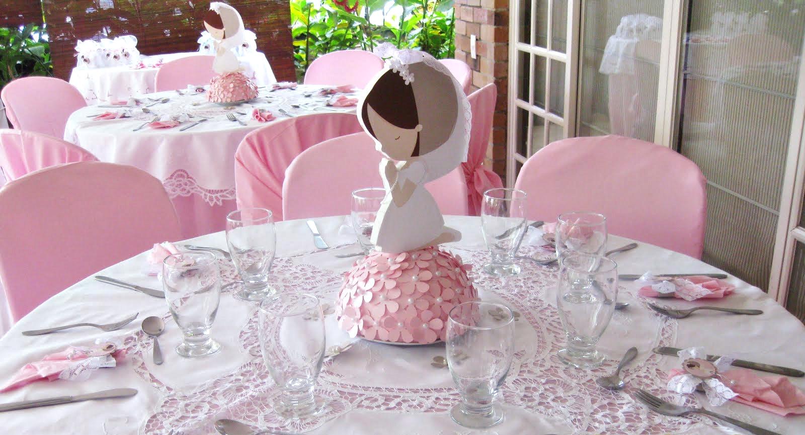 decoracion primera comunion nina centros de mesa