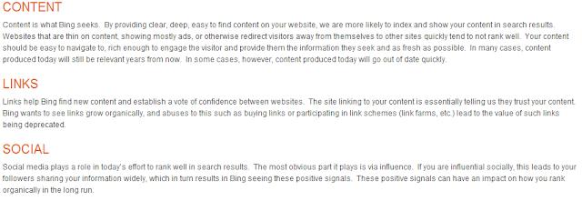 Bing webmasters guidelines