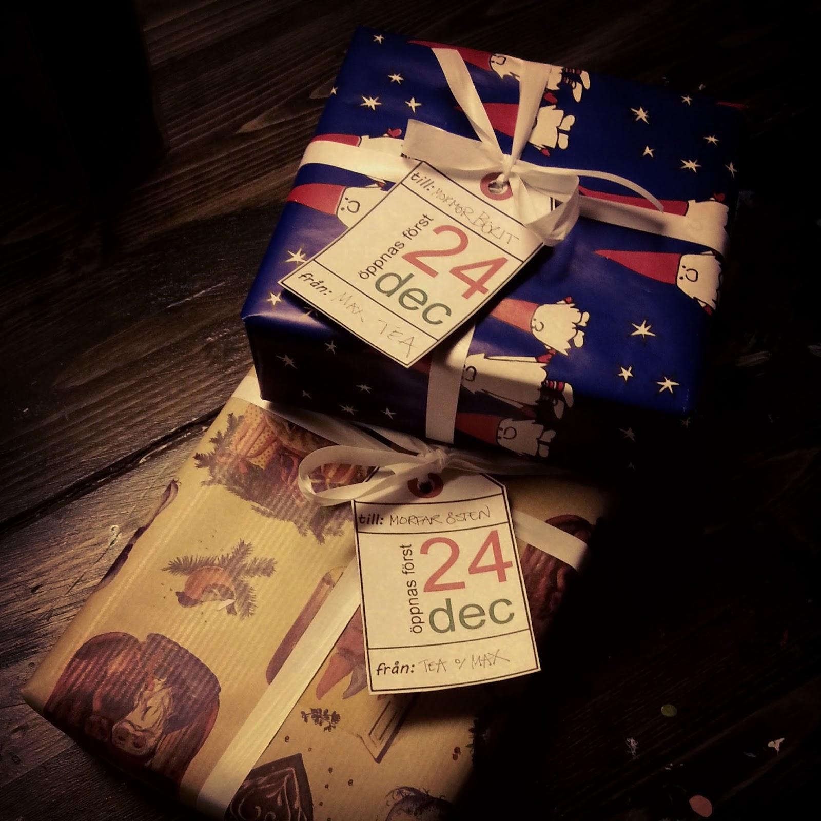 julklappar med utskrivbara paketadresser
