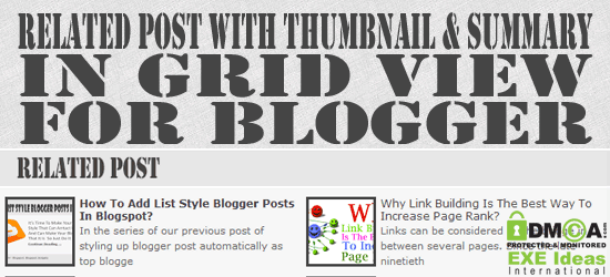 New Related Post With Thumbnail & Summary In Grid View For Blogger