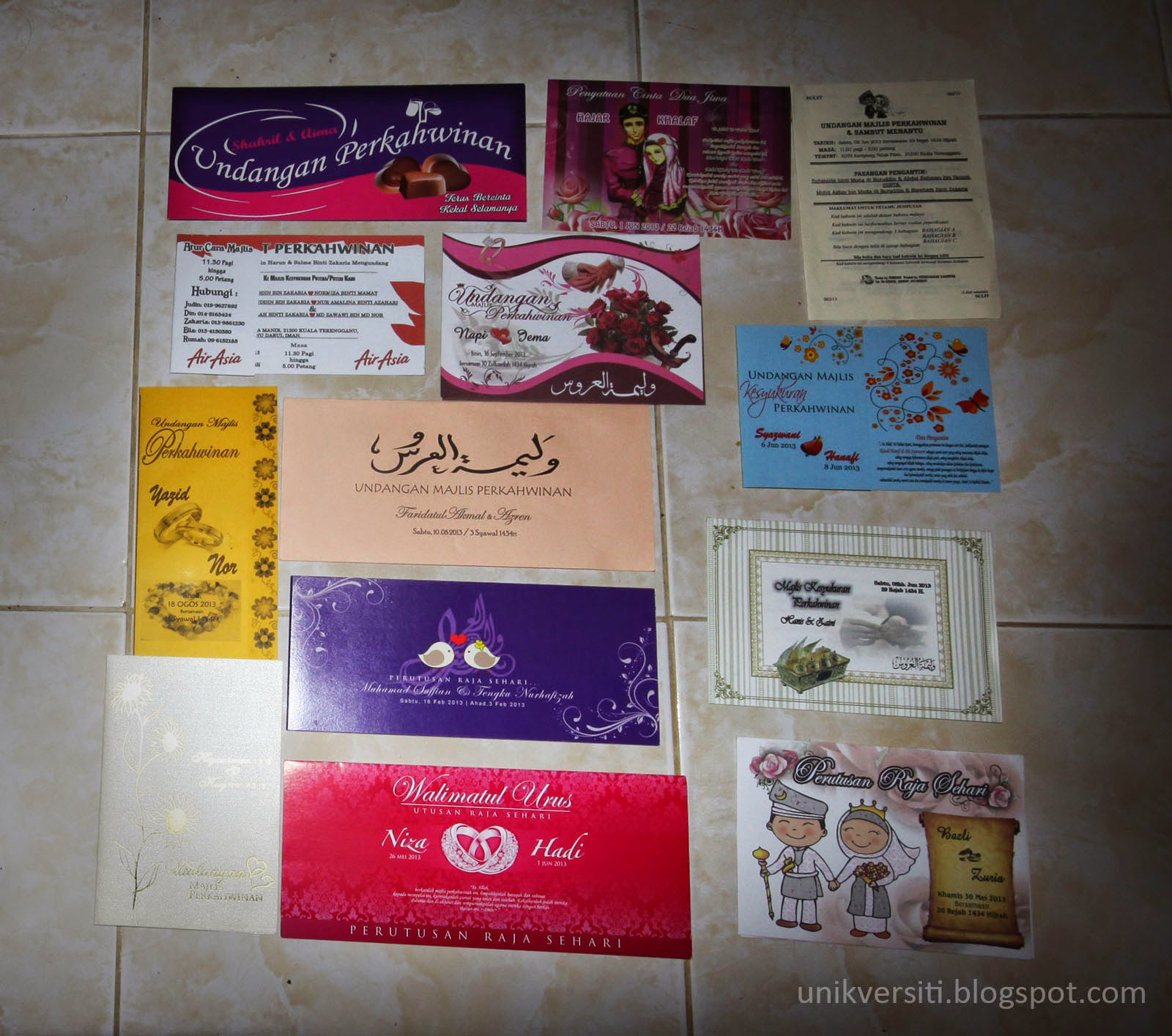 Kad Jemputan Kahwin tahun 2011 - 2013
