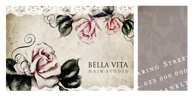 Vintage themed business card design for a Hair Salon in Worcester.