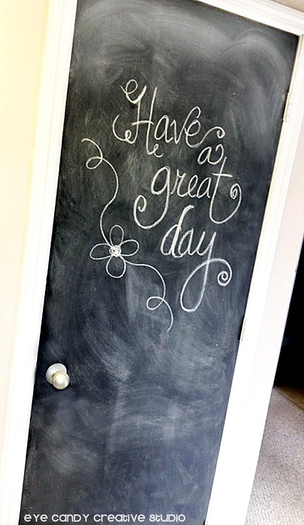 writing on chalkboard door, pantry door makeover, kitchen door, paint