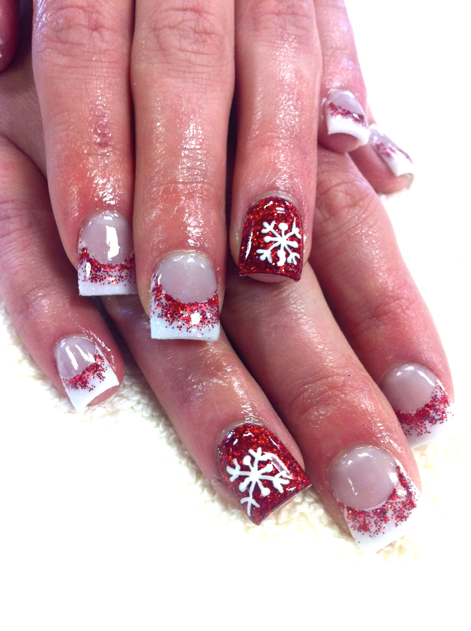 Christmas Bow Acrylic Nail Art.