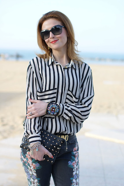 Romwe striped shirt, Moschino belt, Fashion and Cookies