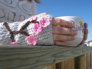 Charming Cherry Blossoms Fingerless Mitts by Kaleidoscope Art & Gifts