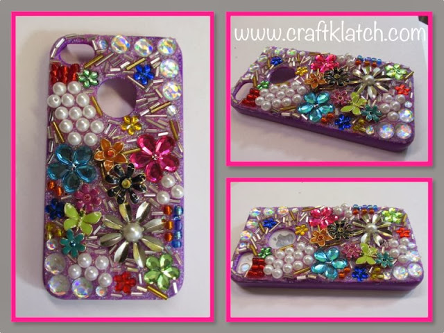 craft klatch diy cell phone case glitter jewels