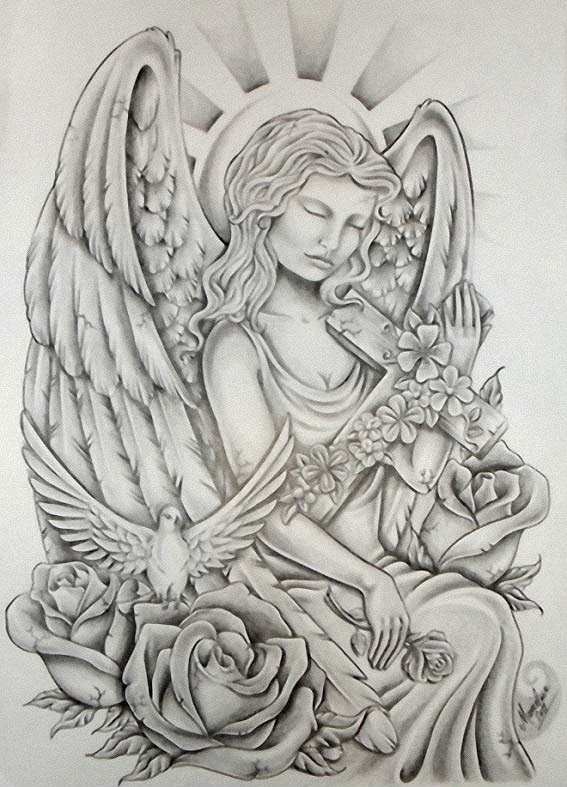Angel roses and the Holy spirit tattoo stencil