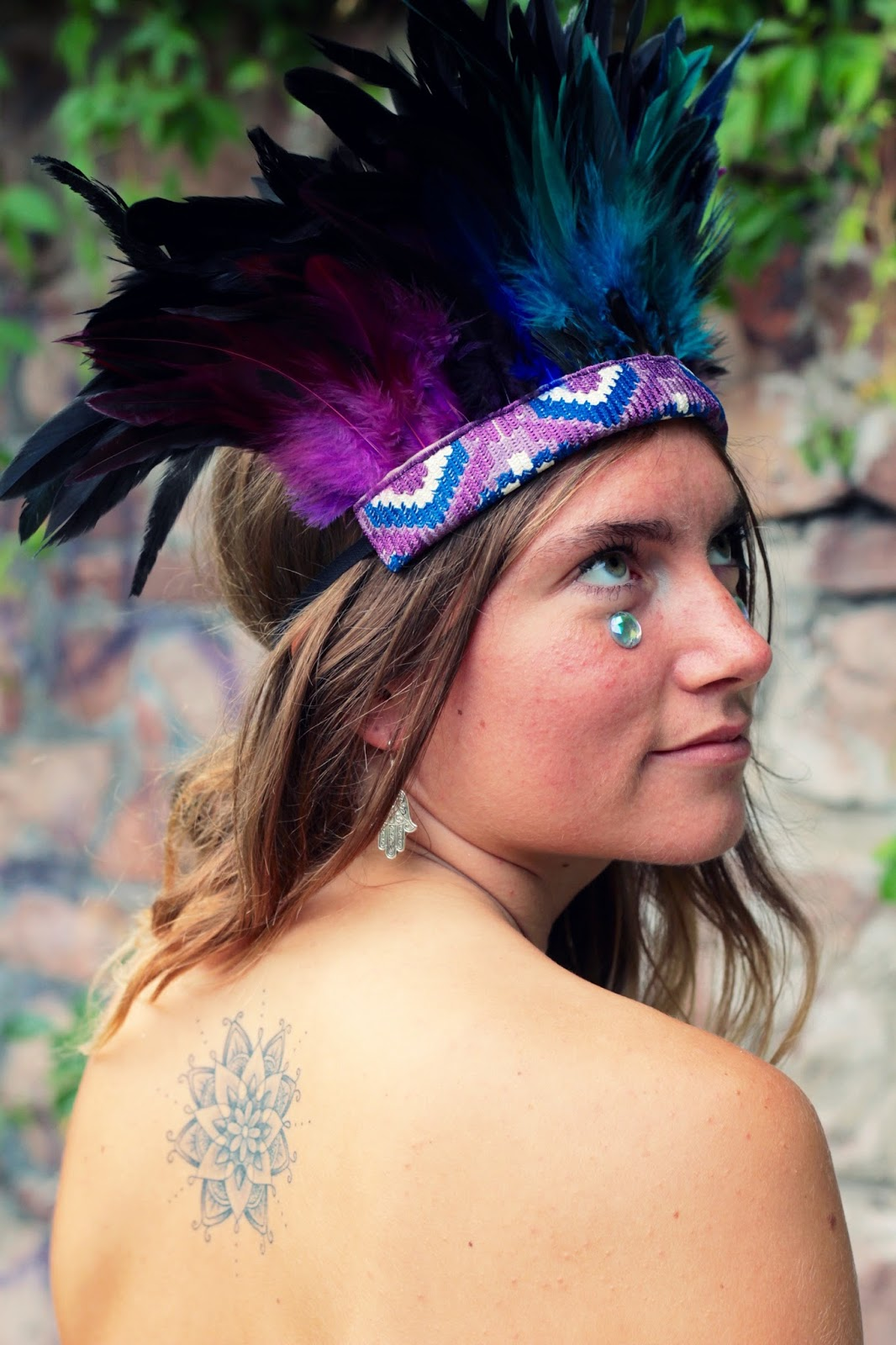 feather headdress, festival, headpiece, feathers, handmade, hippie, boho fashion,