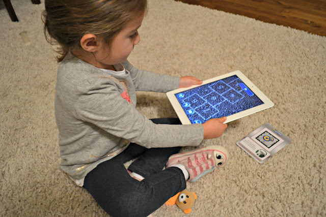 preschooler playing with the Cypher Kids letter cards on iPad #CypherKidsClub