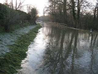 Roads flooded in Oxfordshire - the Thames breaks its banks.