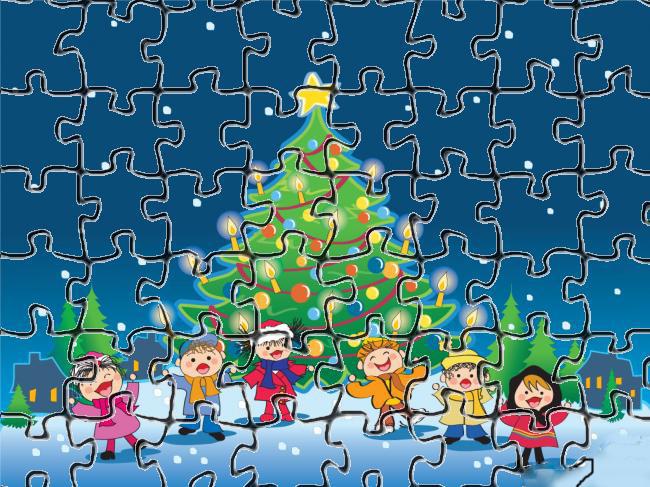 a desenhar Quebra cabeça festa de natal para recortar colorir