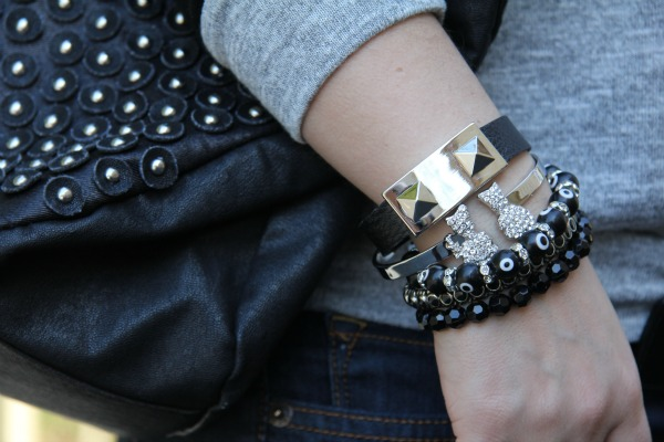 Bag from TJ Maxx, Accessories from TJMaxx, Boy Meets Girl Silver Bangle