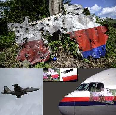 Damage to fuselage of downed Malaysian Airline MH17