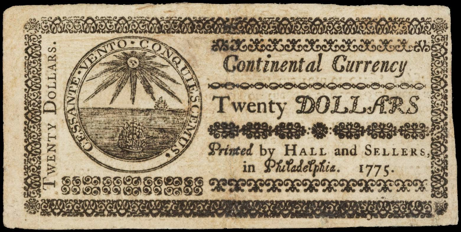 Early American currency 20 Dollar bill