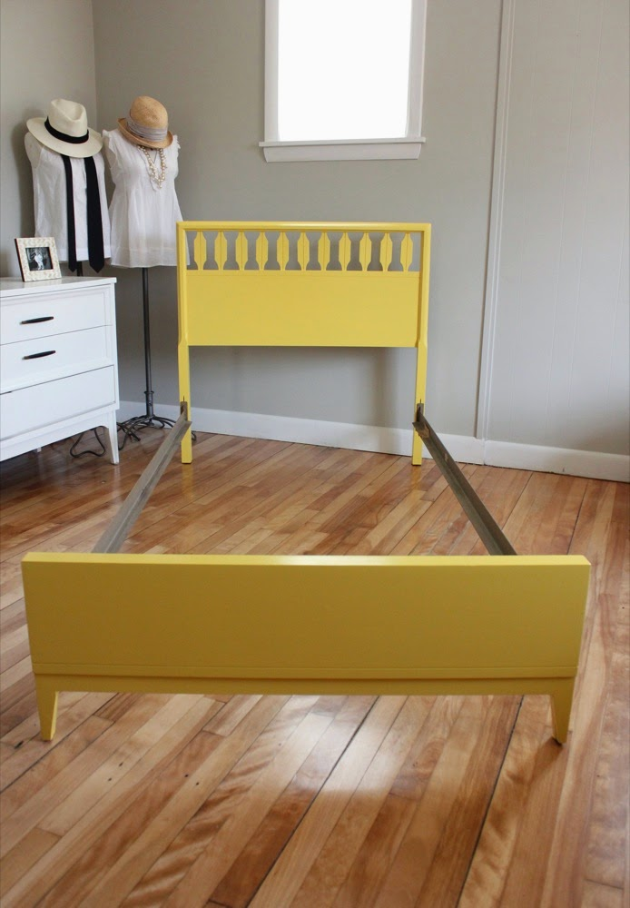 blue lamb furnishings : yellow twin mcm spindle bed - sold