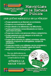 CAMPAÑA DE MATRICULACIÓN EN LA ESCUELA PÚBLICA