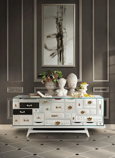 gray brown foyer tile white console chest wall panels