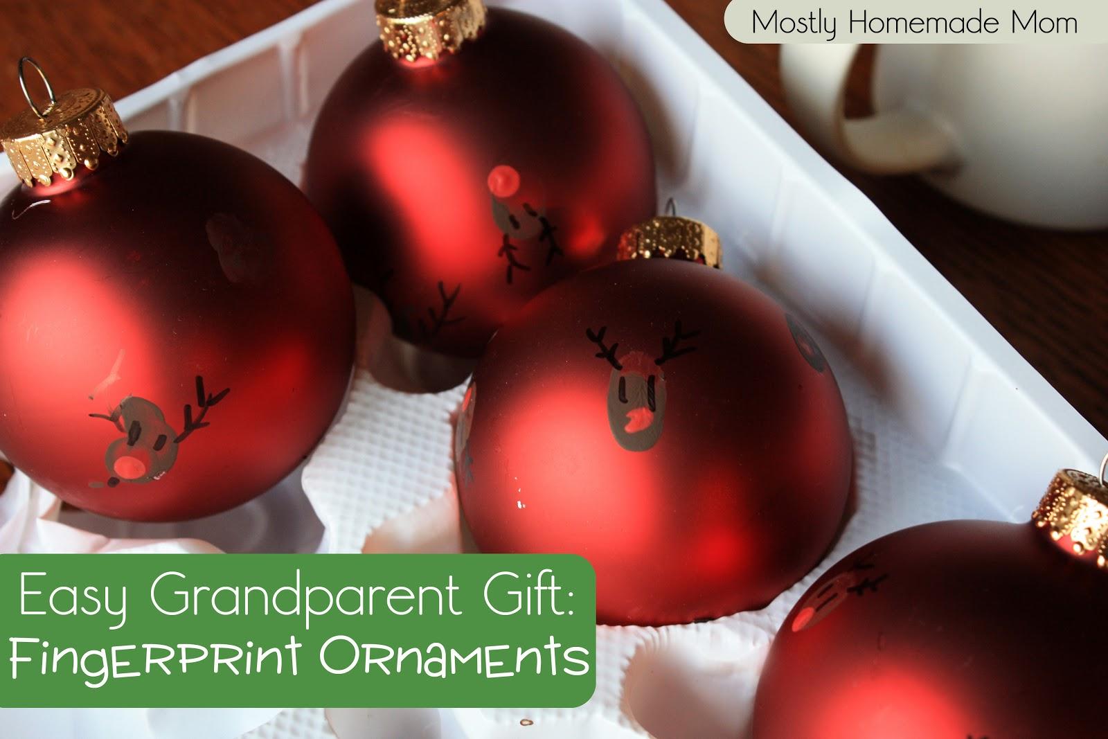 Easy Grandparent Gift: Fingerprint Ornaments - Mostly Homemade Mom