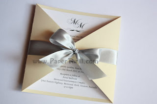 Ribbon gate fold wedding invitation card