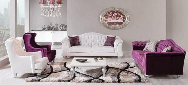 moderne canapé violet en cuir style italien