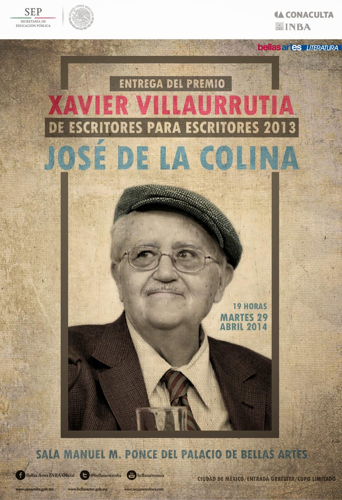 Entrega del Premio Xavier Villaurrutia a José de la Colina en Bellas Artes