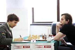 Echecs en Chine : - Ronde 4 - nulle en 1 heure entre les Russes Sergey Karjakin et Alexander Grischuk - Photo Anastasiya Karlovich